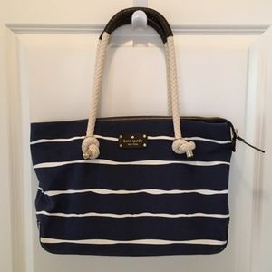 Navy Blue + White Nautical Rope Handled Purse